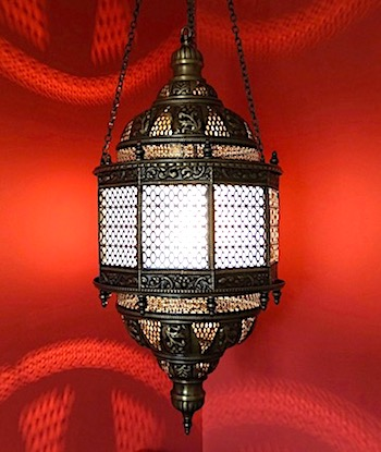 Hanging Turkish brass lamp